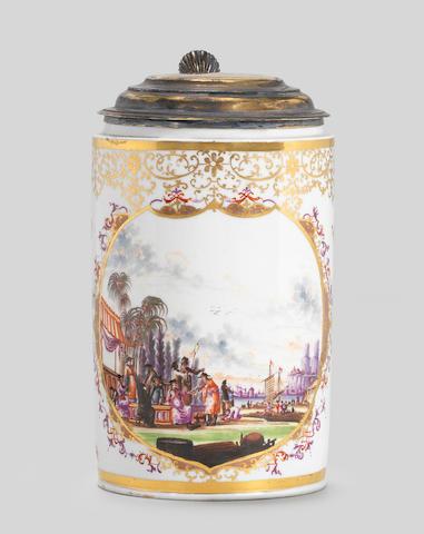 A Meissen silver-gilt-mounted cylindrical tankard, circa 1730