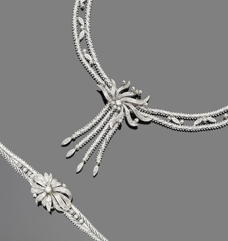 A 1970s diamond-set necklace and bracelet suite (2)