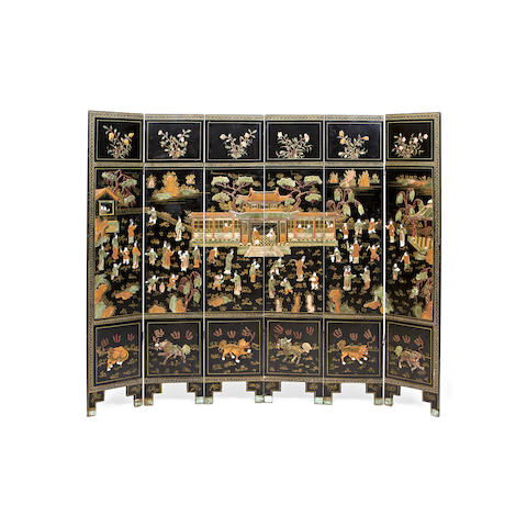 A Chinese late 19th/early 20th century hardstone and ivory mounted polychrome decorated black lacquer six-panel screen