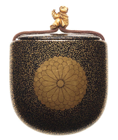 An unusual saya three-case inro By Koma Kyui, 19th century