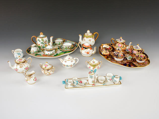 Three Crown Staffordshire miniature cabaret sets and other various teapots, sucriers and jugs, 20th century