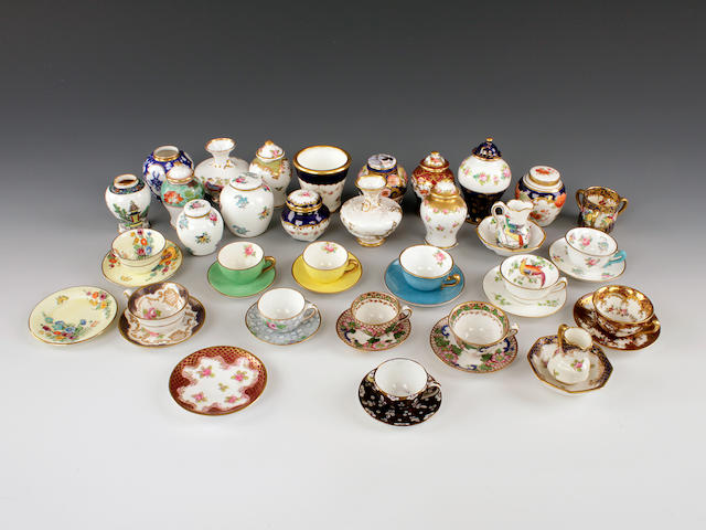 A collection of Crown Staffs miniatures including vases, cups and saucers