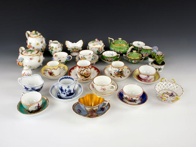 A selection of Dresden and other European miniatures including Meissen