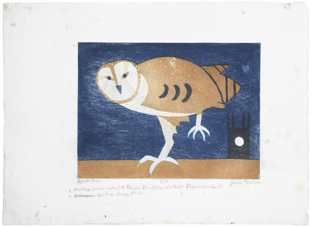 Julian Trevelyan (British, 1910-1988) Owl Etching and aquatint printed in colours, 1969, on J.Green, signed, titled and inscribed 'AP' in pencil, one of twenty proofs aside from the edition of 100, printed by Studio Prints, London, with the artist's instructions in lower margin, 350 x 475mm (13 3/4 x 18 3/4in)(PL)  unframed