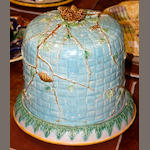 An English majolica cheese dome and base, 19th Century,