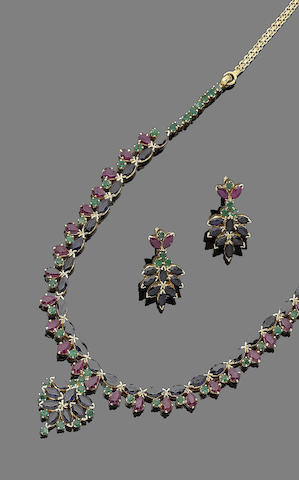A sapphire, ruby and emerald necklace and earring suite (2)