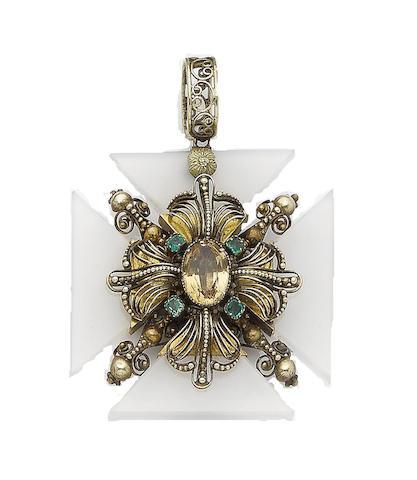 A topaz, emerald and chalcedony revival Maltese cross pendant,