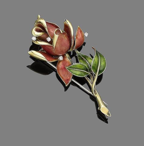 An enamel and diamond flower brooch