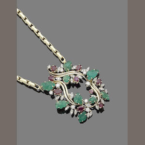 A ruby, emerald and diamond necklace