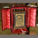A late 19th Century French brass and enamel decorated carriage timepiece,