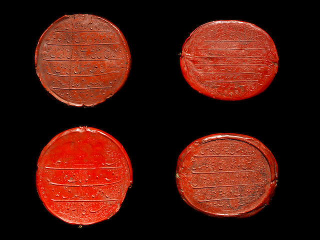 A collection of thirteen wax seal Impressions