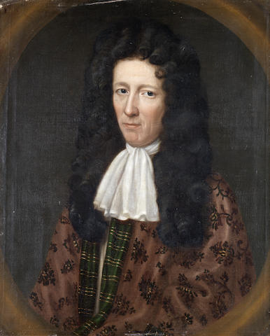 English School, 17th Century Portrait of Jasper Radcliffe, half-length, in a purple embroidered mant