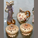 A group of four Worcester blush ivory porcelain