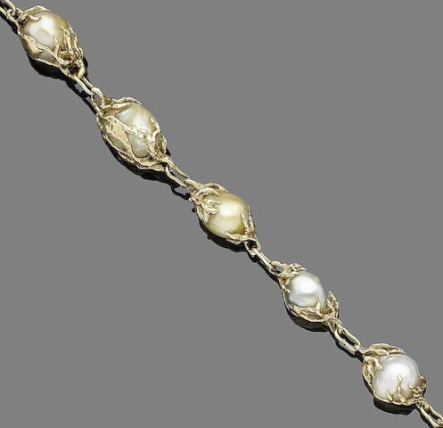A baroque pearl necklace, by Arthur King