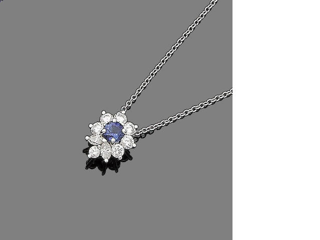 A sapphire and diamond cluster pendant necklace, by Tiffany & Co.
