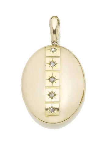 A diamond-set pendant locket