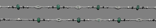 An emerald, onyx and diamond necklace