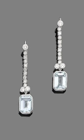 A pair of aquamarine and diamond pendent earrings
