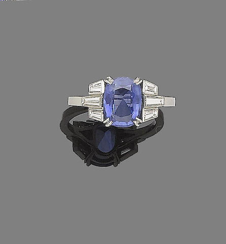A sapphire and a diamond ring