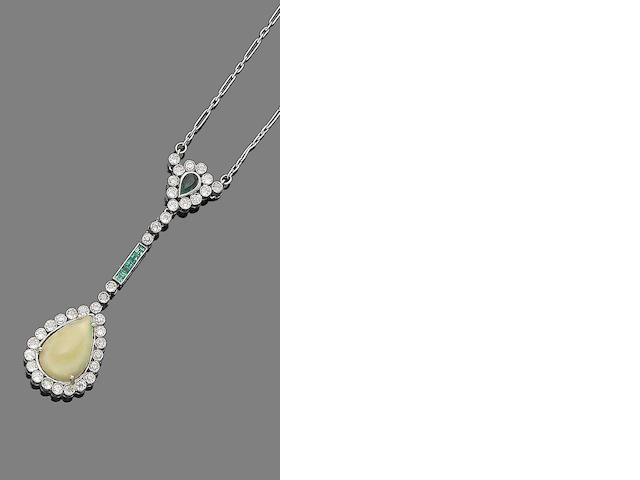 An opal, emerald and diamond pendant necklace