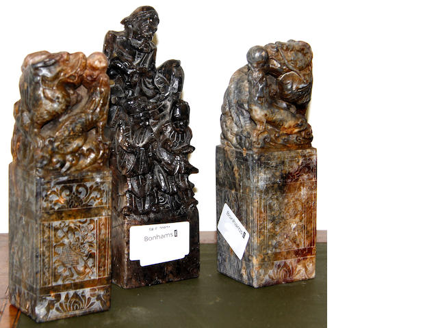 A pair of late 19th century Chinese soapstone carvings