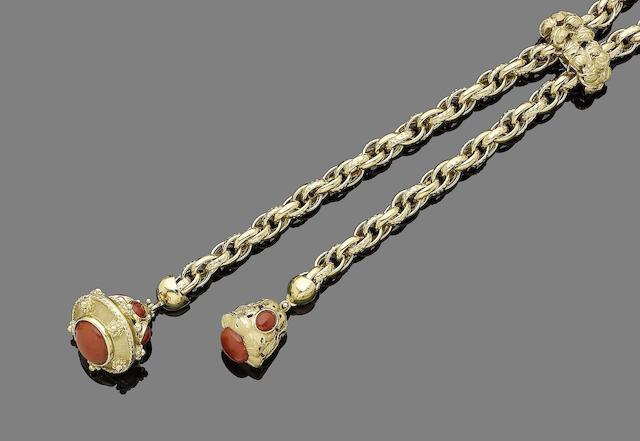 A coral-set necklace