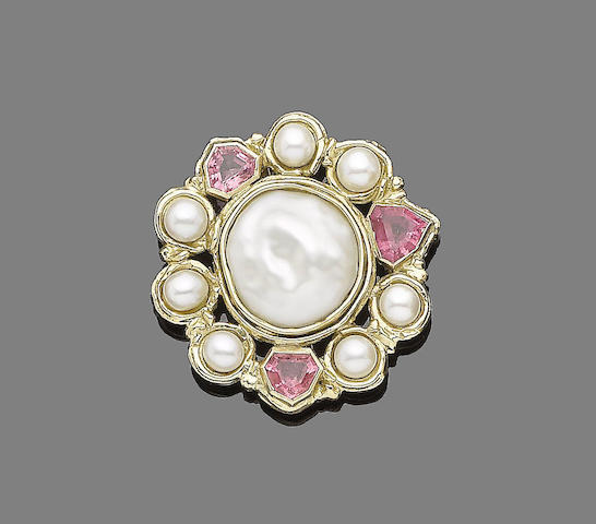 A gold, cultured pearl, mother-of-pearl and tourmaline cluster pendant/brooch,
