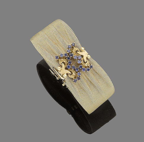 A sapphire and synthetic sapphire cuff bracelet