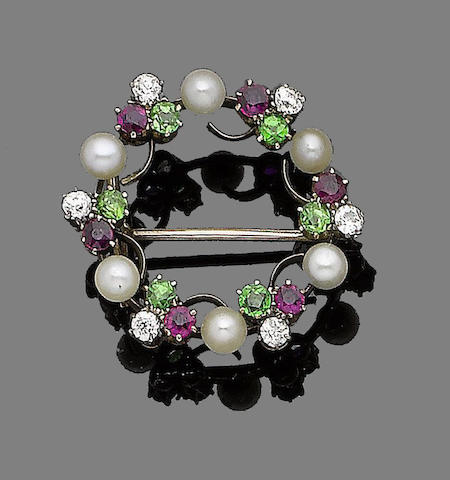 A ruby, garnet, diamond and cultured pearl brooch