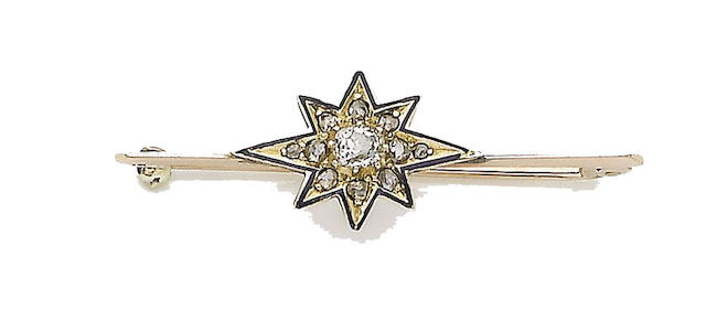A late 19th century diamond and enamel bar brooch