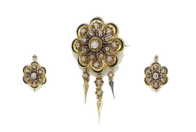 A mid 19th century enamel and diamond brooch and earring suite (2)