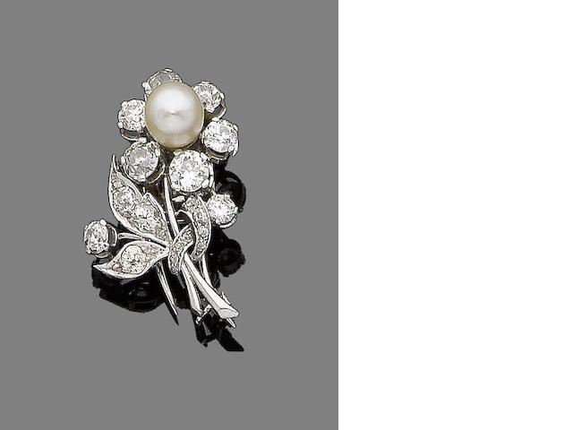 A pearl and diamond clip brooch