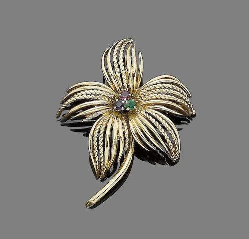 A ruby, sapphire and emerald flower brooch, by Cartier