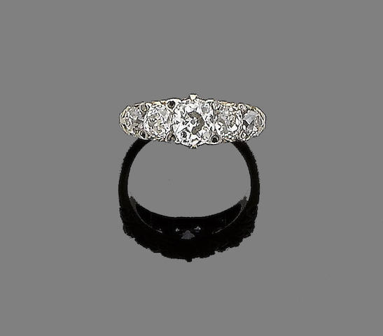A late 19th century diamond five stone ring