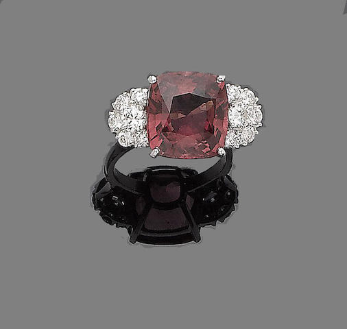 A tourmaline and diamond dress ring,