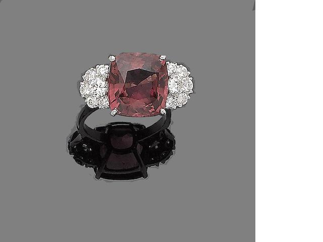 A tourmaline and diamond dress ring,
