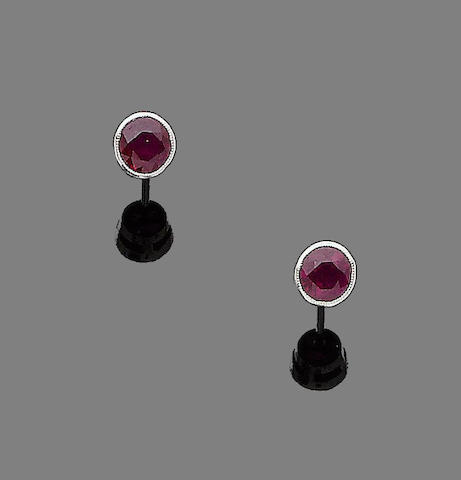 A pair of ruby earstuds