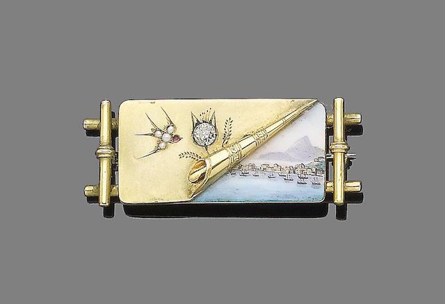 A gold, enamel and gem-set brooch,
