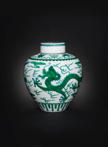 A green-enamelled 'dragon' jar and cover Qianlong seal mark and of the period