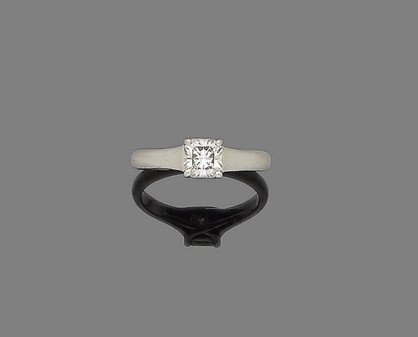 A diamond single-stone ring, by Tiffany & Co.,