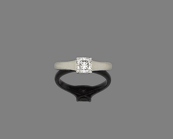 A diamond single-stone ring, by Tiffany & Co.,