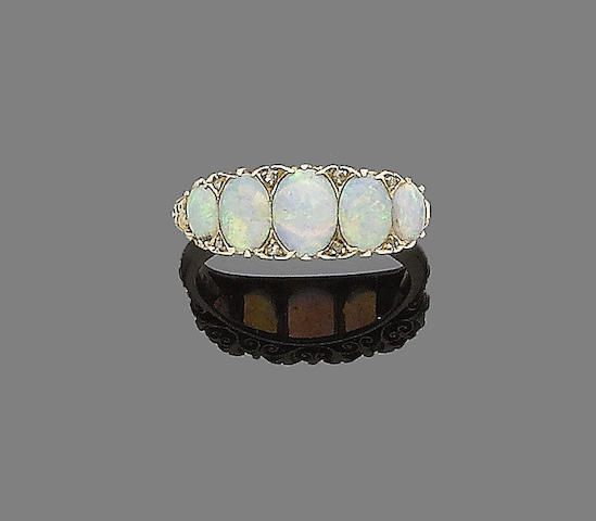 An opal five-stone ring
