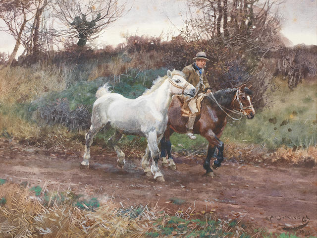 Sir Alfred James Munnings P.R.A., R.W.S. (British, 1878-1959) Return from the Fair 24.9 x 33.5 cm. (9 3/4 x 13 1/4 in.)