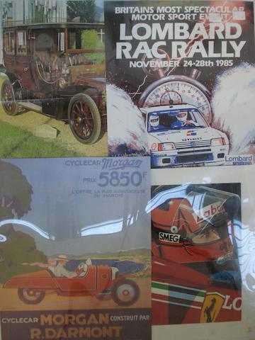Four motoring prints posters,