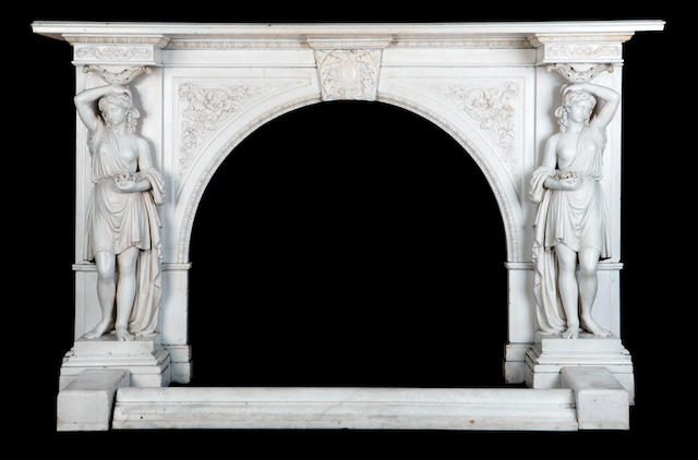 An Italian white marble fire surround (in crates and loose)
