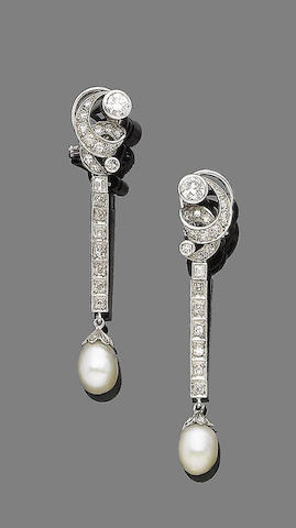 A pair of pearl and diamond pendent earrings