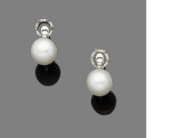 A pair of cultured pearl earrings