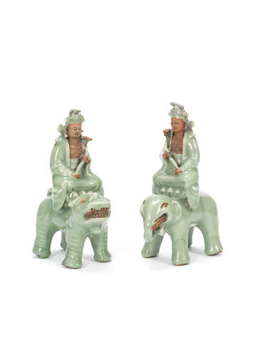 Two biscuit and celadon-glazed Buddhist figures Ming Dynasty