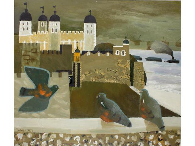 Mary Fedden R.A. (British, 1915-2012) Pigeons at Tower Bridge