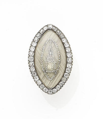 A diamond-set mourning ring,
